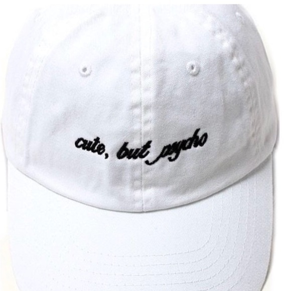 "b382b74fa1e39 White ""Cute But Psycho"" Dad Hat"